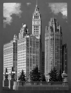 Wrigley Building and Tribune Tower Giclee Print 62 in. x 48 in.