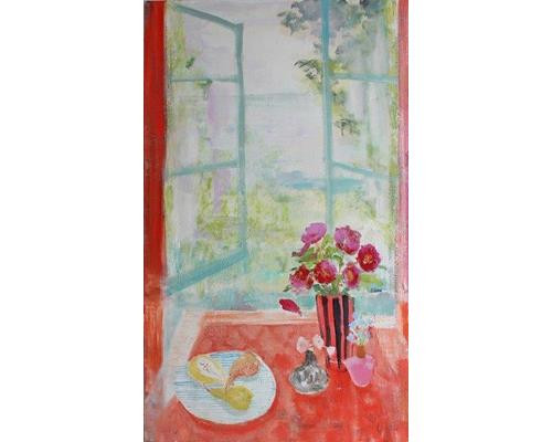 Peonies and Pears on Red